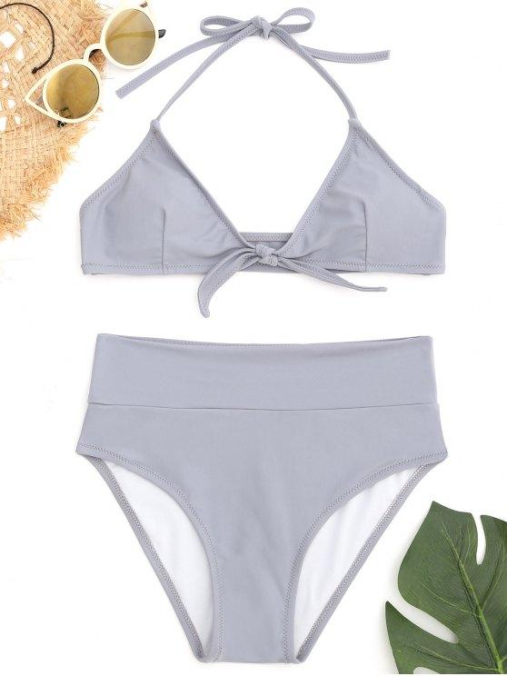 women Knot Halter Bikini Set - BLUE GRAY S