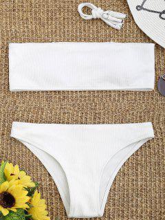 Ribbed Textur Bandeau Bikini Set - Weiß S