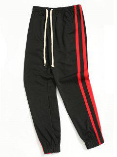 Drawstring Sporty Jogger Pants - Red With Black L