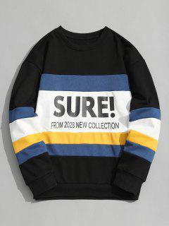 Casual Color Block Graphic Sweatshirt - Black L
