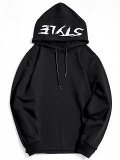 Side Zipper Style Graphic Hoodie - Black L