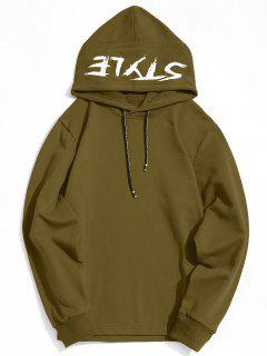 Side Zipper Style Graphic Hoodie - Army Green S