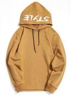 Side Zipper Style Graphic Hoodie - Khaki M