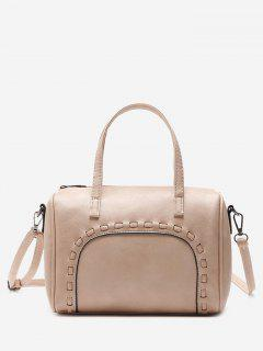 Braid Faux Leather Tote Bag - Pink