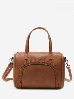Braid Faux Leather Tote Bag - Light Brown