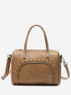 Braid Faux Leather Tote Bag - Khaki