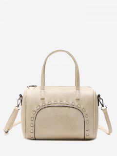 Braid Faux Leather Tote Bag - Beige