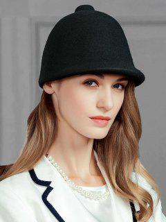 Pointed Top Embellished Faux Wool Ladies Hat - Black