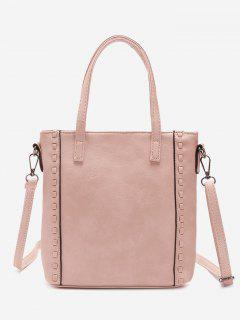Faux Leather Whipstitch Shoulder Bag - Pink