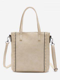 Faux Leather Whipstitch Shoulder Bag - Beige