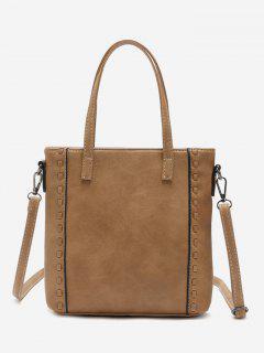 Faux Leather Whipstitch Shoulder Bag - Khaki