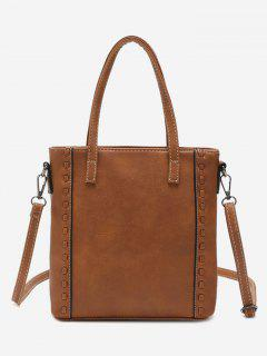 Faux Leather Whipstitch Shoulder Bag - Brown
