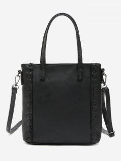 Faux Leather Whipstitch Shoulder Bag - Black