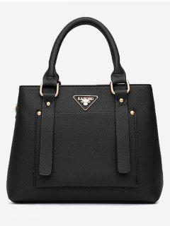 Front Pocket Faux Leather Tote Bag With Strap - Black