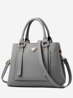 Front Pocket Faux Leather Tote Bag With Strap - Dark Gray