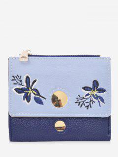 Color Block Flower Embroidery Bi Fold Wallet - Blue