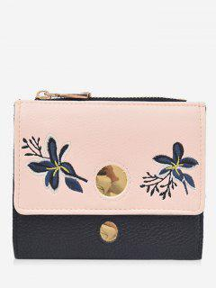 Color Block Flower Embroidery Bi Fold Wallet - Black