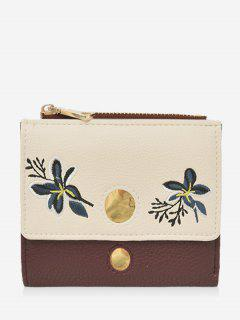 Color Block Flower Embroidery Bi Fold Wallet - Wine Red