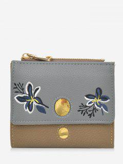 Color Block Flower Embroidery Bi Fold Wallet - Brown
