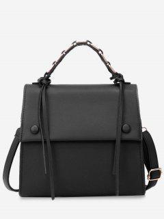 PU Leather Flap Tassel Handbag - Black