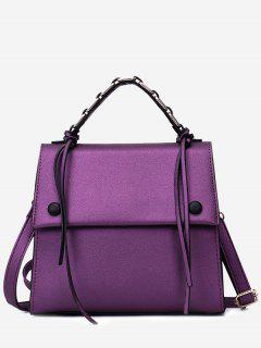 PU Leather Flap Tassel Handbag - Purple