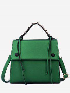 PU Leather Flap Tassel Handbag - Green