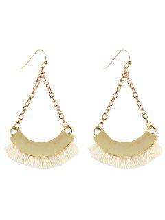 Bohemian Tassel Chain Hook Earrings - White