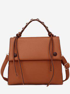 PU Leather Flap Tassel Handbag - Brown