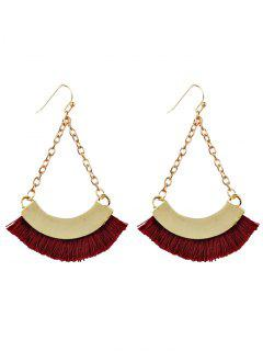 Bohemian Tassel Chain Hook Earrings - Red