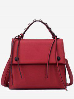 PU Leather Flap Tassel Handbag - Red