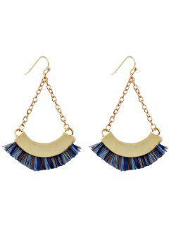 Bohemian Tassel Chain Hook Earrings - Blue
