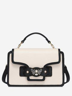 Butterfly Color Block Faux Pearl Handbag - White And Black