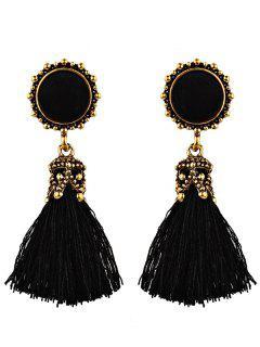 Ethnic Round Tassel Earrings - Black