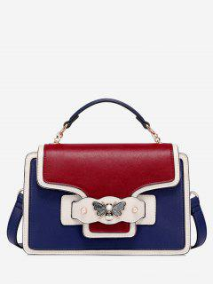 Butterfly Color Block Faux Pearl Handbag - Blue + Red