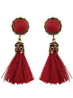 Ethnic Round Tassel Earrings - Red