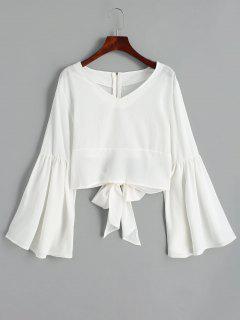 Back Zippered Bowknot Flare Sleeve Blouse - White M