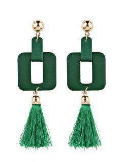 Pendientes Geométricos Borla De Cuero De Imitación Vintage - Verde