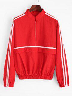 Striped Zip Up Windbreaker - Red S