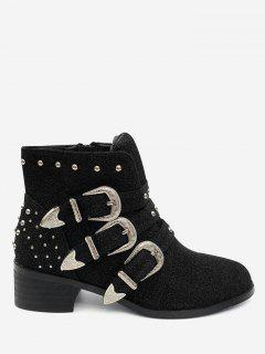 Chunky Heel Buckled Ankle Boots - Black 37