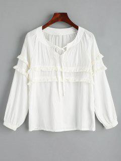 Tassels Embellished Bow Tie Blouse - White