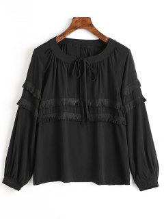 Tassels Embellished Bow Tie Blouse - Black