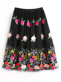 Floral Embroidered Layered Tulle Skirt - Black L