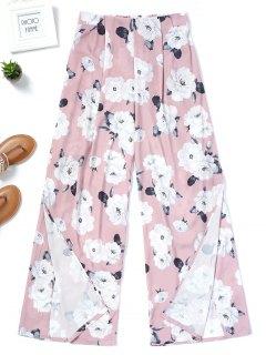Pantalones De Pierna Ancha Con Aberturas Florales - Floral L