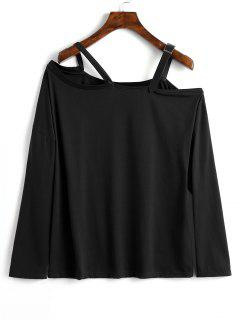 Contrast Straps Cold Shoulder Top - Black Xs