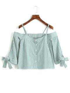 Streifen Knopf Oben Kalte Schulter Bluse - Streifen  Xl