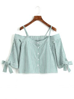 Stripes Button Up Cold Shoulder Blouse - Stripe Xs