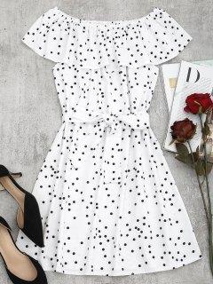 Mini Vestido Con Lunares Superpuestos En El Hombro - Blanco M