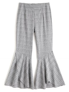 Plaid Tiered Hem Flare Pants - Checked M