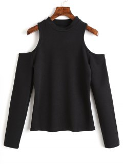Knitting Cold Shoulder Top - Black S