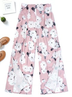 Floral High Slit Wide Leg Pants - Floral M